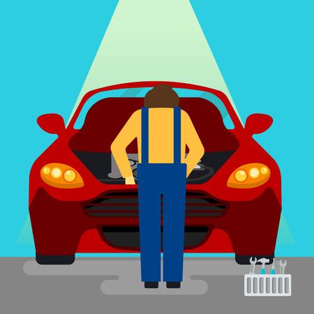 auto service: Car Service. Car Repairs and Diagnostics. Auto Maintanence. Serviceman at Work. Vector illustration