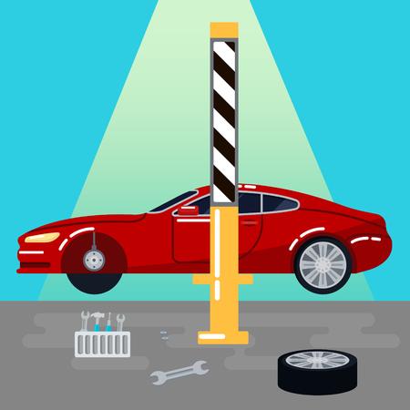 auto service: Car Service. Car Repairs and Diagnostics. Auto Maintanence. Vector illustration Illustration