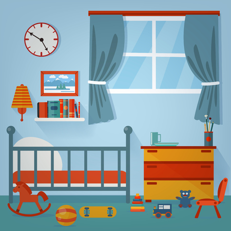 Enfants Chambre Inter. Meubles pour enfants et jouets. Vector illustration