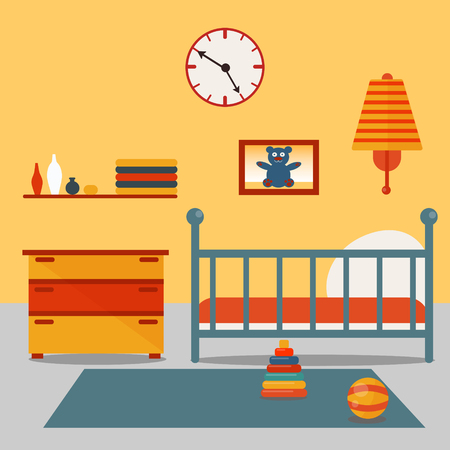 child bedroom: Children Bedroom Interior. Child Furniture and Toys. Vector illustration