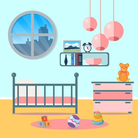 playroom: Children Bedroom Interior. Child Furniture and Toys. Vector illustration