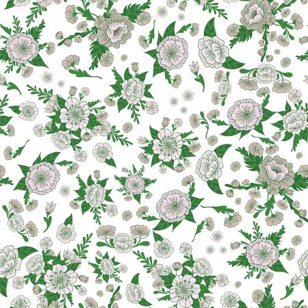 seasonable: Floral Background. Flowers Seamless Pattern. Vintage Flowers. Vector illustration