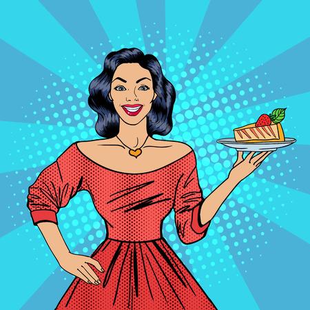 Meisje met een taart. Huisvrouw met Cheesecake. Pop Art. Gelukkige Vrouw. vector illustratie