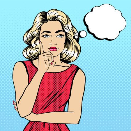 Mujer de pensamiento. Niña bonita. Las dudas mujer. Mujer mirando hacia arriba. Arte pop de la bandera. ilustración vectorial