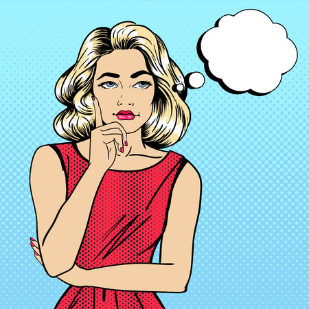 deciding: Woman Thinking. Pretty Girl. Woman Doubts. Woman Looking Up. Pop Art Banner. Vector illustration