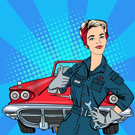 Meisje met gereedschap. Werkende Vrouw Gesturing Grote. Vintage American Car. Pop Art Banner. vector illustratie