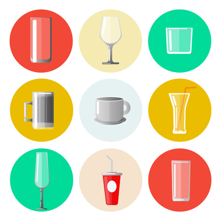 bar ware: Set of Different Glasses and Cups. Vector illustration
