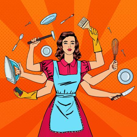 El ama de casa con éxito. Mujer multitarea. La esposa perfecta. Arte pop. ilustración vectorial Ilustración de vector