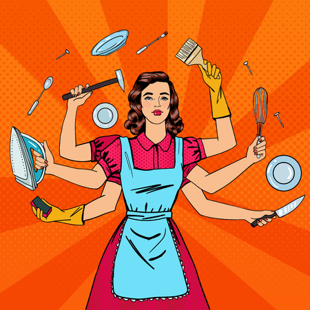 Successful Housewife. Multitasking Woman. Perfect Wife. Pop Art. Vector illustration