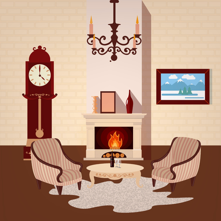 vintage chandelier: Living Room Interior. Room Interior with Vintage Chandelier and Fireplace. Home Interior. Vector illustration Illustration