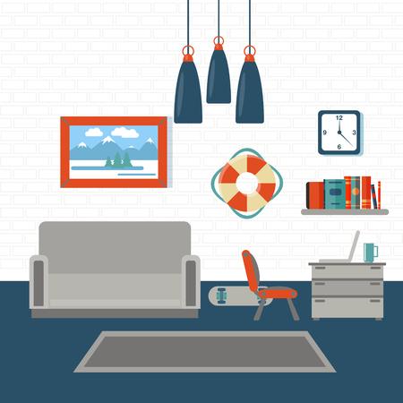 living room design: Modern Interior. Living Room. Room Design with Furniture. Vector illustration
