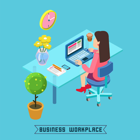 lady clock: Modern Workplace. Isometric Office. Businesswoman at Work. Office Table with Laptop. Vector illustration