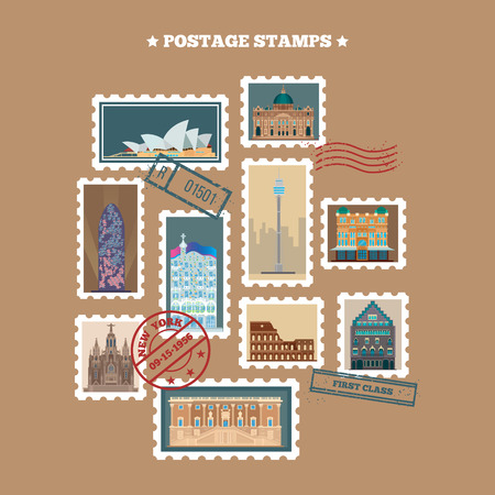 postage stamps: Travel Postage Stamps. Famous Buildings. Time to Travel. Vector illustration Illustration