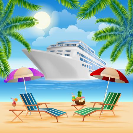 Tropisch paradijs. Cruise schip. Exotische eiland met palmbomen. Vakantie en Reizen. vector illustratie Stock Illustratie