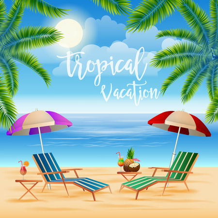 beach: Tropical Paradise. Exotic Island with Palm Trees. Vacation and Travel. Vector illustration