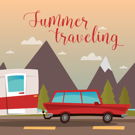 family holiday: Family Vacation Time. Active Summer Holidays by Camper. Vector illustration