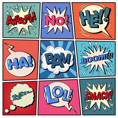 smack: Comic Bubbles Set. Expressions Awesome, No, Hey, Ha, Bam, Boom, Zzz, Lol, Smack. Halftone Background. Pop Art. Vector illustration