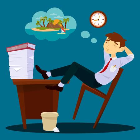 sleeping businessman: Businessman Dreaming about Vacation. Lazy Businessman. Sleeping Businessman. Vector illustration