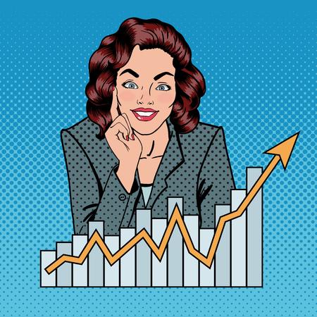 Femme d'affaires prospère. Femme d'affaires. Busineswoman et Arrow Graph. Pop Art. Illustration vectorielle