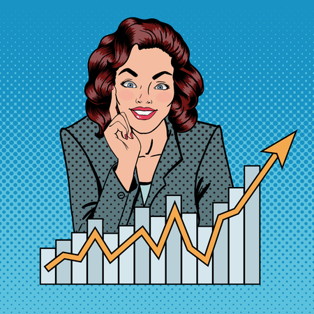 Successful Businesswoman. Business Lady. Busineswoman and Arrow Graph. Pop Art. Vector illustration
