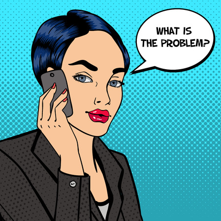 business phone: Business Lady Talking on the Phone. Attractive Businesswoman. Pop Art. Vector illustration