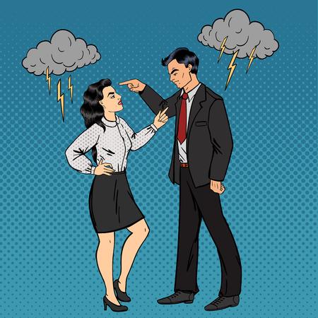 Geschil tussen man en vrouw. Familie Conflict. Slechte relaties. Pop Art. vector illustratie