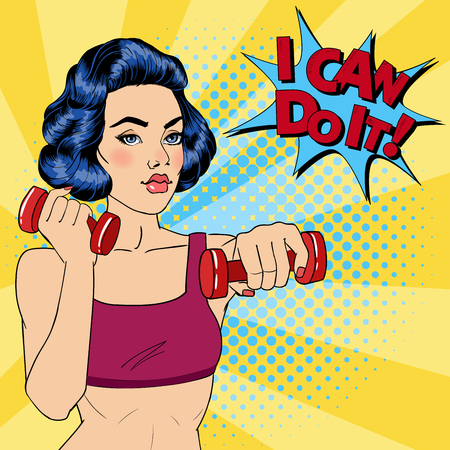 Woman with Dumbbells. Bubble I Can Do It. Fitness Girl. Pop Art. Vector illustration Illustration