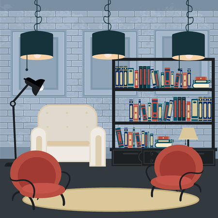 furniture design: Modern Interior. Living Room in Grunge Style. Room Design with Furniture. Vector illustration Illustration