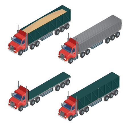 heavy: Heavy Transportation. Isometric Transportation. Set of Trucks. Cargo Truck. Vector illustration