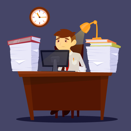 overworked: Overworked Man. Exhausted Businessman. Stress at Work. Office Life. Vector illustration Illustration