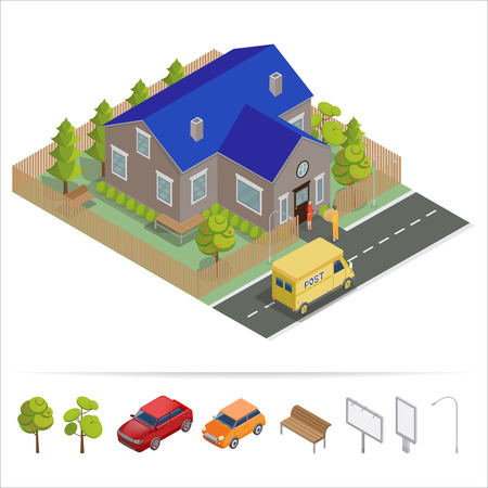 commercial tree service: Postal Service. Isometric House. Delivery Truck. Delivery Man. Vector illustration