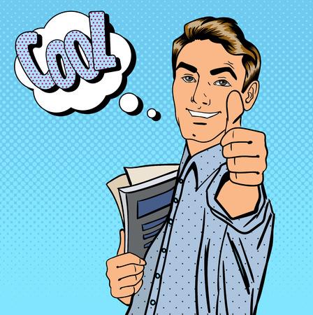 Glücklicher Kursteilnehmer. Mann Gestikulieren Große. Student mit Büchern. Expression kühlen. Pop-Art. Vektor-Illustration