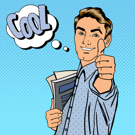 Happy Student. Man Gesturing Great. Student with Books. Expression Cool. Pop Art. Vector illustration