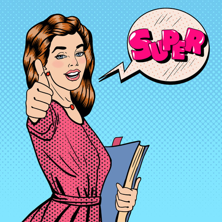Happy Student. Woman Gesturing Great. Student with Books. Expression Super. Pop Art. Vector illustration