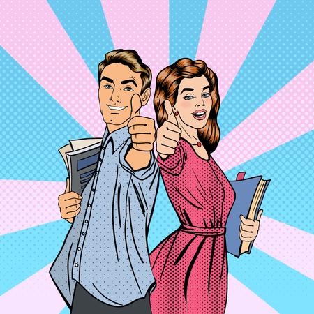 Paare der Kursteilnehmer. Mann und Frau, Gestikulieren Große. Studenten mit Büchern. Das Studienkonzept. Pop-Art. Vektor-Illustration
