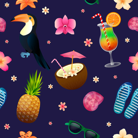 tucan: Tropical Background. Seamless Pattern with Cocktail, Pineapple and Sunglasses. Vector illustration Illustration