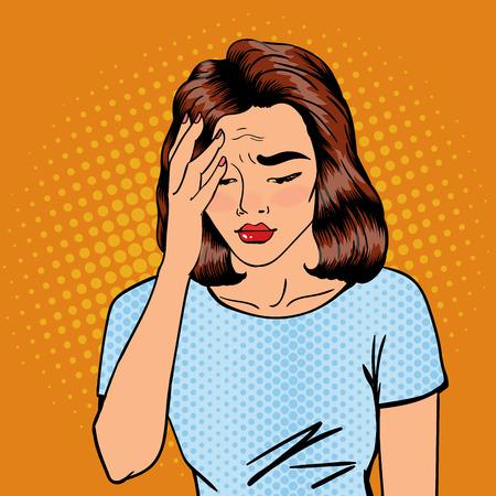 La mujer tiene un dolor de cabeza. El estrés de la mujer. Mujer agotada. Arte pop de la bandera. ilustración vectorial
