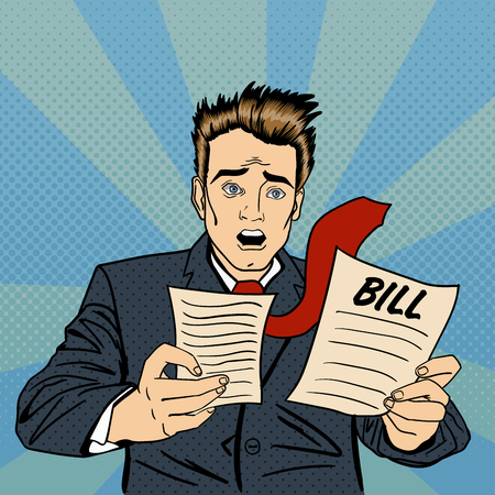 Shocked Man. Frustrated Businessman Checking Financial Documents. Businessman Receiving Bills. Pop Art. Vector illustration Illustration