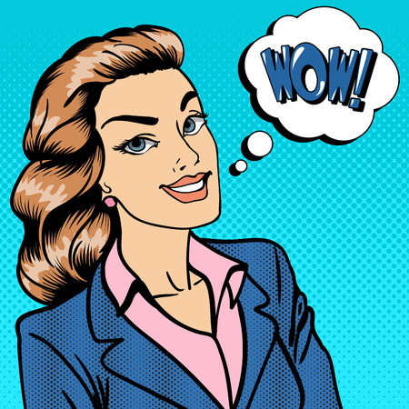 telling: Happy Businesswoman. Business Lady. Surprised Woman Telling Wow. Pop Art. Vector illustration