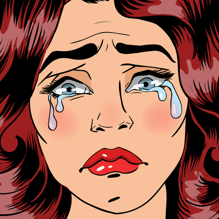 Woman Crying. Exhausted Woman. Woman in depression. Pop Art Banner. Vector illustration