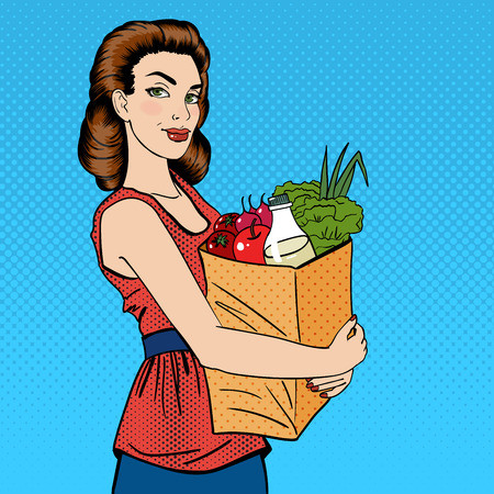 lady shopping: Woman with Shopping Bag. Girl with Groceries Healthy Food. Pop Art. Vector illustration Illustration