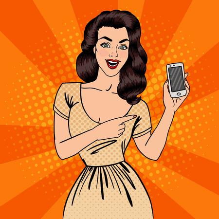 Fille avec Smartphone. Belle femme Affichage Nouveau Smartphone. Pop Art. Vector illustration