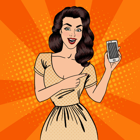 woman smartphone: Girl with Smartphone. Beautiful Woman Showing New Smartphone. Pop Art. Vector illustration
