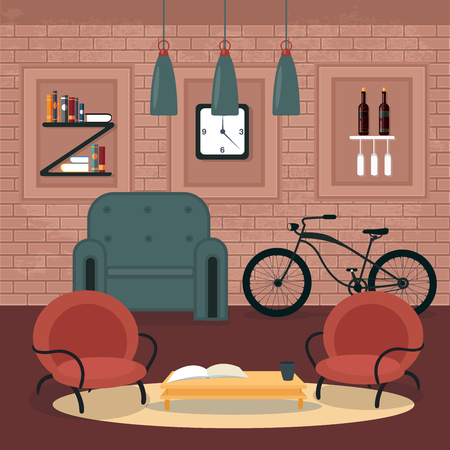 modern living room: Modern Interior. Living Room in Grunge Style. Room Design with Furniture and Bicycle. Vector illustration Illustration