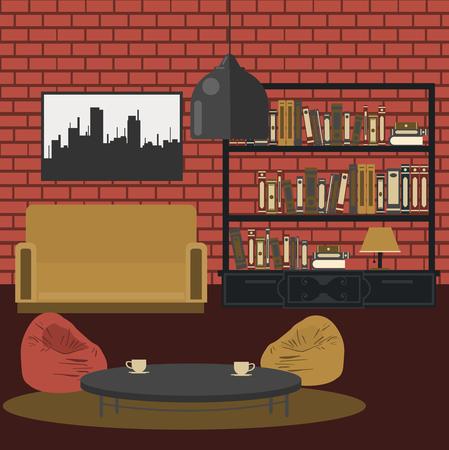 modern living room: Modern Interior. Living Room in Grunge Style. Room Design with Furniture. Vector illustration Illustration