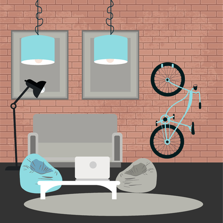 furniture transport: Modern Interior. Living Room in Grunge Style. Room Design with Furniture and Bicycle. Vector illustration Illustration