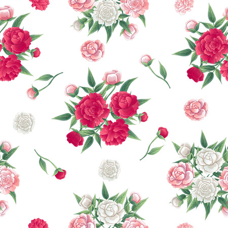peon: Floral Seamless Pattern. Peonies Background. Pink and White Peon. Vector illustration Illustration