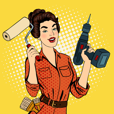 roller brush: Girl with Roller Brush and Drill. Woman Doing Repairs. Pop Art. Pin Up Girl. Vector illustration