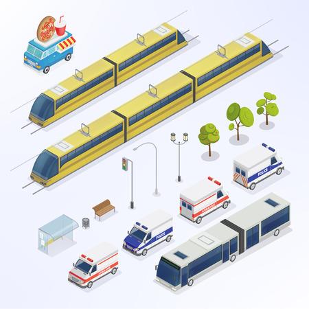 urn: Isometric City. Urban Elements. Isometric Bus. Isometric Tram. City Transportation. Vector illustration