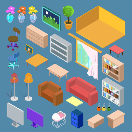 Isometric Furniture. Isometric Living Room Planning. Isometric Interior Objects. Vector illustration Illustration
